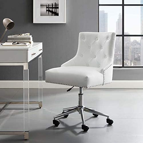 Modway Regent Tufted Button Faux Leather Swivel Office Chair with Nailhead Trim in White
