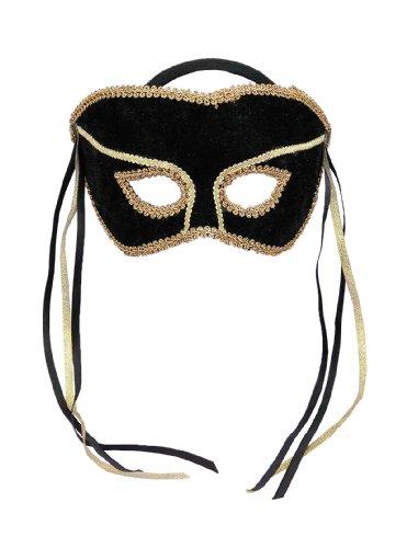 With Half Style Black Mask Gold (Forum Novelties Men's Karneval Style Half Mask, Black/Gold, One)