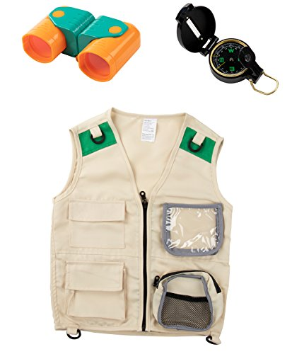 Blue Panda Kid Explorer Vest Kit - 3-Piece Outdoor Exploration Set Includes Cargo Vest, Compass, and Binoculars for Kids' Pretend Play or Nature Safari Halloween Party Dress-Up Costume