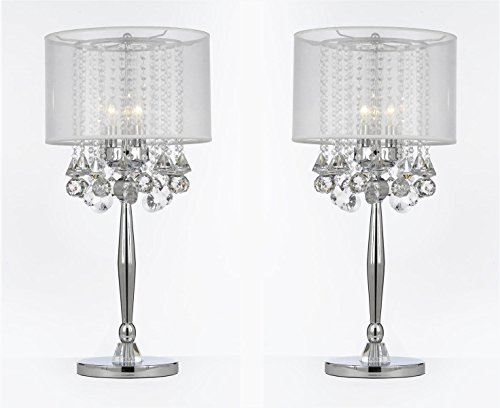 SET OF 2 ! Silver Mist 3 Light Chrome Crystal Table Lamp with White Shade Transitional Contemporary Modern Lamp - Reflects Chrome Table Lamp