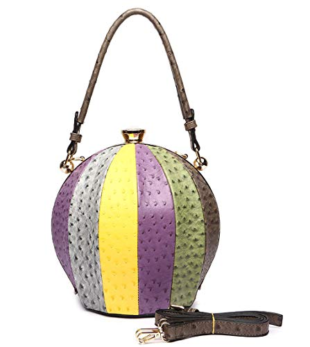 Cowgirl Trendy Ostrich Embossed Large Round Satchel w/Strap- 4 Multi Colors (Multi Taupe) ()
