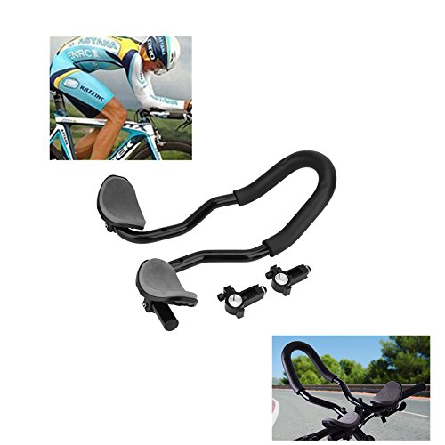 Bike Rest Handlebar Stable Aluminum Alloy Bicycle Rest Bar Cycling Handlebar Arm Restwith Sponge Cushion for MTB Road ,Bicycle Aerobars, Moutain Bike or Road Bike