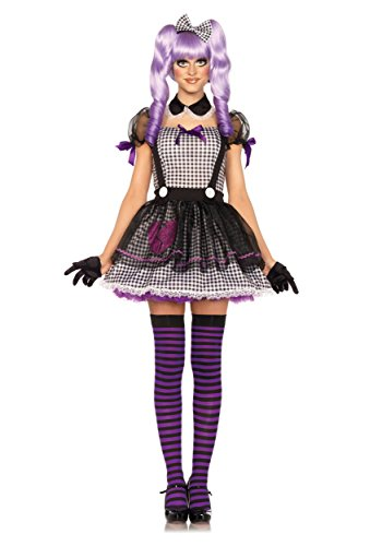 Leg Avenue Women's Dead Eye Dolly Costume, Black/White, (Wind Up Doll Costume)