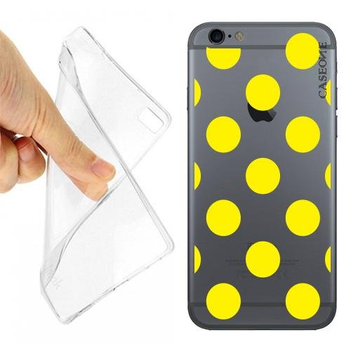 CUSTODIA COVER CASE POIS GIALLI PER IPHONE 6 TRASPARENTE 2