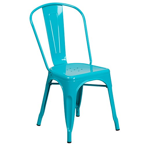 Flash Furniture Crystal Teal-Blue Metal Indoor-Outdoor Stackable Chair by Flash Furniture
