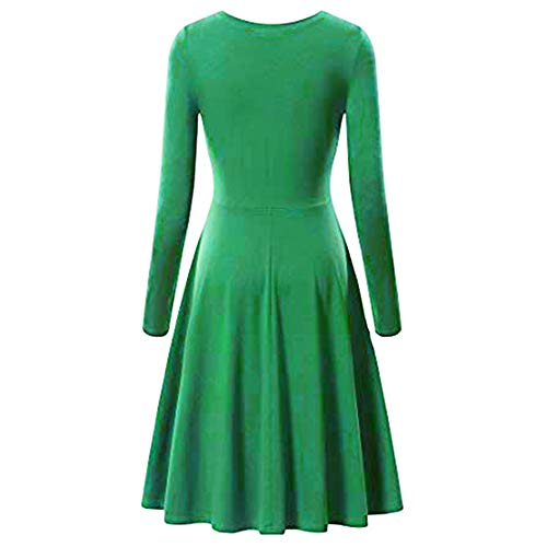 Landfox Maxi Dress,Big, Fashion O-Neck Pure Color Dress,Dress for Women Casual A-line Cotton Mini Dress Green]()