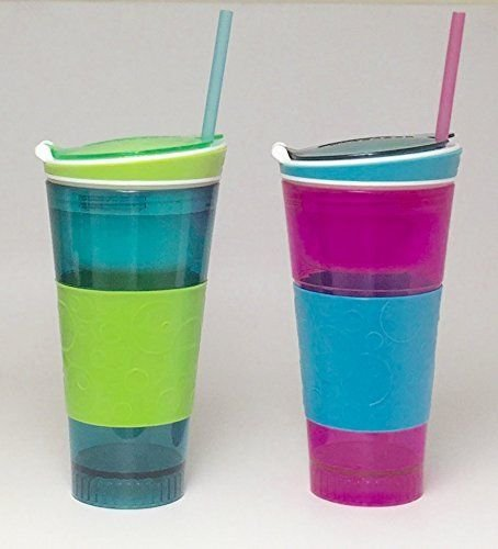 2 Pack Snackeez - Plastic 2 in 1 Snack & Drink Cup - 1 Pink and Blue & 1 Blue and Green