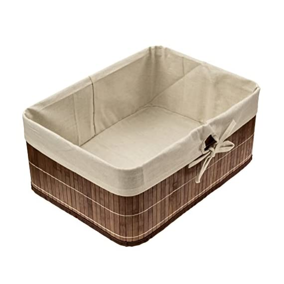 EarlyWorld Bamboo Storage Basket. Round Cornered, Dark Wood Tones With Cloth Liner - Beautiful Bamboo slatted box for storage of papers, toys, odd and ends, craft supplies, clothing, blankets, etc. Perfect mid-size storage box. Size: 15 in. wide x 11 in. deep x 6.5 in. tall. Steel Reinforced. Easily collapsible in case of need for moving. - living-room-decor, living-room, baskets-storage - 41ZNs4gPQrL. SS570  -