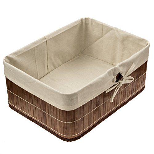 EarlyWorld Bamboo Storage Basket. Round Cornered, Dark Wood Tones With Cloth Liner