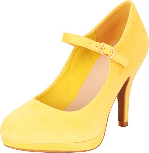 Cambridge Select Women's Mary Jane Buckle Strap Dress Cushioned High Heel Pump (6 B(M) US, Yellow IMSU)