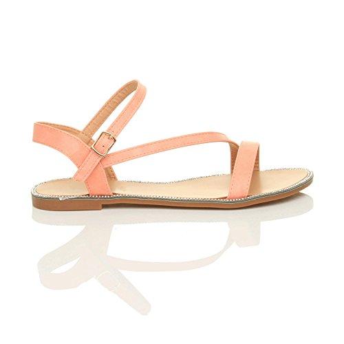 Women Sandals Plain Pink Trim Size Rhinestone Flat Coral Ajvani S7gwqndCHC