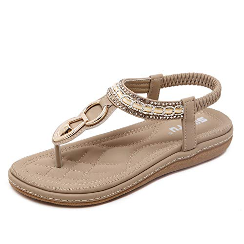 SHIBEVER Summer Flat Gladiator Sandals for Women Comfortable Casual Beach Shoes Platform Bohemian Beaded Flip Flops Sandals Apricot-4 5