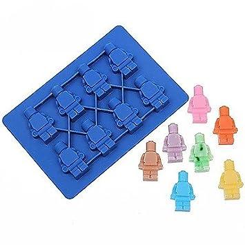 1pcs silicona Robot cubo de hielo caja de hielo Chocolate moldes Jelly moldes Candy molde de