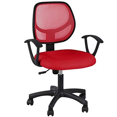- Yaheetech Office Chair Ergonomic Computer Chair Mid Back Mesh Desk Chair Lumbar Support Modern Executive Adjustable Stool Rolling Swivel Chair, Red