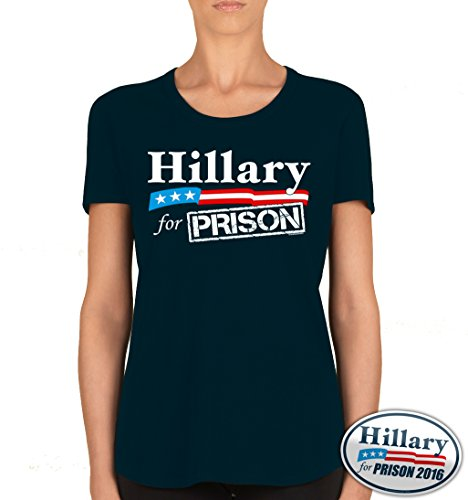 Vipergraphics Hillary for Prison T-Shirt & Sticker WOMEN'S Anti Clinton tshirt