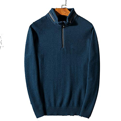 (TOGIC Mens Zipper Sweater Stand-Up Collar Cashmere Sweaters for Thick Warm Wool Pullover Men Blue L)