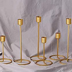 10Pcs Mini Home Decor Candle Holders-Wedding Party Table Decorations-Home Decorative Accessories for Living Room-Party Table Decorations for Wedding Reception-Candlestick Home Romantic Gold (25Cm)