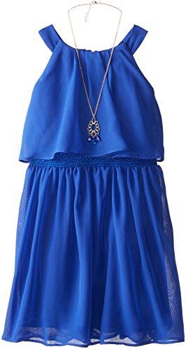 Amy Byer Big Girls' U-Neck Dress with Necklace, Sapphire, 16
