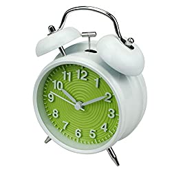 jiemei 4 Twin Bell Alarm Clock Battery Operated, Loud Home Alarm Clock with Stereoscopic Dial, Nightlight, Non Ticking for Bedroom (Green)
