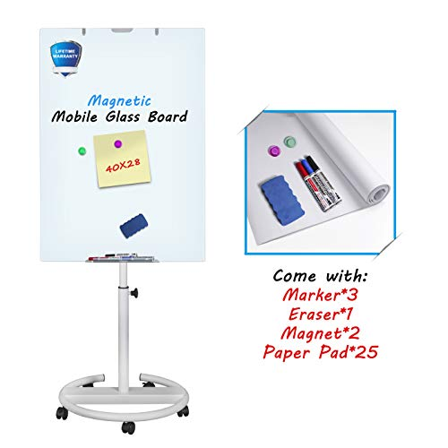 Glass Whiteboard Mobile - Magnetic Glass Board with Paper Pads, Glass Dry Erase Board 40x28 Inches, Height Adjustable Flipchart Easel Glass Board with Marker - Easel Glass