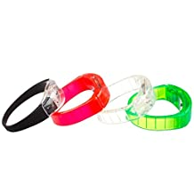 4 x Lilware Dare to Be Visible Hard Plastic Party Bracelet With LED Flashing Light. Set of 4 Wristbands With Sensitive Sound Sensor. Multicolor