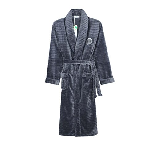 moxin Men's Bathrobes Ladies Luxury 100% Cotton Flannel Towelling Bath Robe Dressing Gown Wrap Nightwear ?(Couple style), man, l by moxin