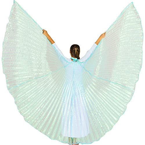 Danzcue 360 Degree Worship Isis Wings, Iridescent Neon Turquoise, - Wings Neon