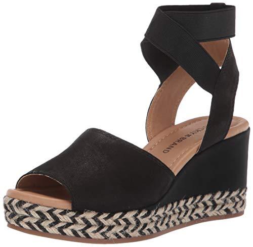 Lucky Brand Women's BETTANIE Espadrille Wedge Sandal, Black, 7 M US