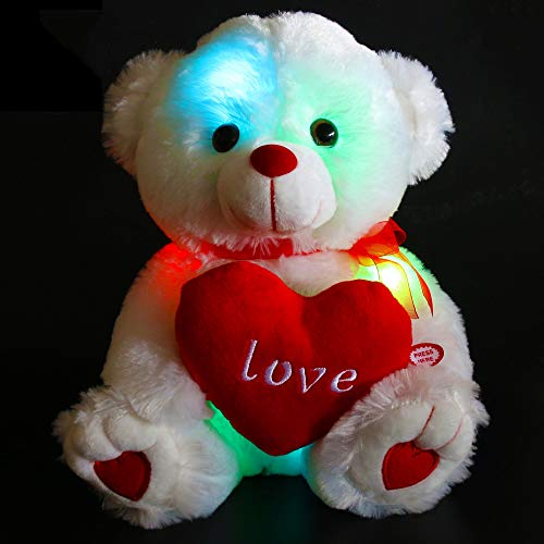 WEWILL LED Light up Teddy Bear Gift for Mother's Day, Glow Adorable Stuffed Animals Plush Toys with a Heart Saying Love, Luminous Toy Gifts for Valentine's Day Birthday, 10.5-inch