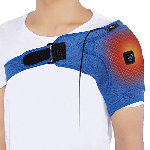 Doact Heated Shoulder Wrap Brace, USB Electric Shoulder Heating Pad for Rotator Cuff, Frozen Shoulder, AC Joint Pain, Shoulder Dislocation Sprains, Bursitis Muscles Pain Relief, Unisex(M)