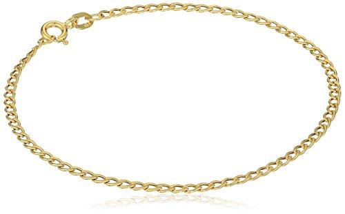 (14k Yellow Gold Hollow Curb Bracelet, 7