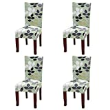 Fuloon Super Fit Stretch Removable Washable Short Dining Chair Protector Cover Seat Slipcover for Hotel,Dining Room,Ceremony,Banquet Wedding Party (4 Per Set, E)