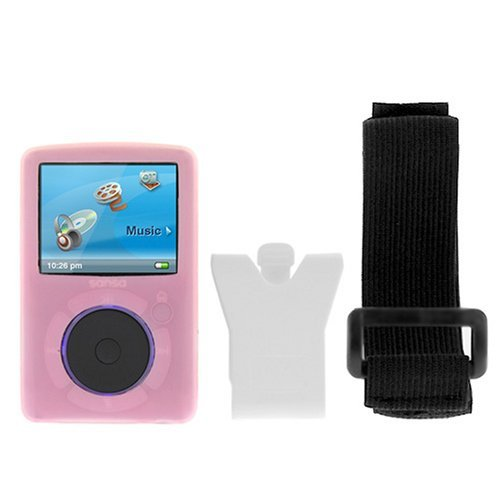 (Durable Flexible Soft Pink Silicone Skin Case with Belt Clip and Armband for Sandisk Sansa Fuze)