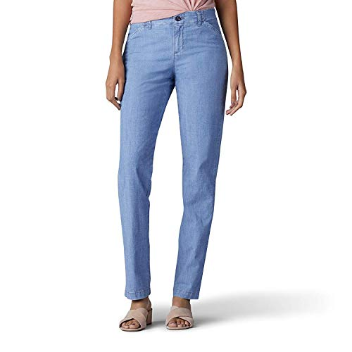 - Lee Platinum Label Womens Chambray Slim Fit Chino Pants Blue 12