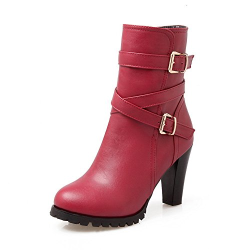 BalaMasa Womens Pull-on Multilayer Metal Strap Wheeled Heel Shoes Imitated Leather Boots Red