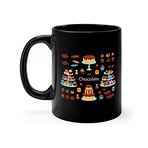 (Chocolate Dessert Collection With Cherry Cakes Bars Sweet Candies And Cupcakes Pie Funny Mugs Cups Ceramic 11 Oz Cup)