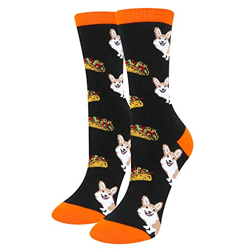 Women's Novelty Funny Corgi Taco Crazy Food Fun Cool Black Cute Dog Cotton Socks]()