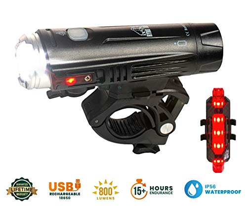 Ryno Tuff Bike Light Set, Powerful, Waterproof and USB Rechargeable, Super-Bright LED, 800 Lumen Front Bicycle Light with Side Warning Lights and Adjustable Mount Plus Free Rear Taillight