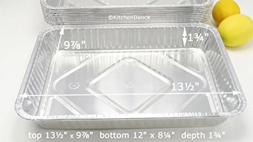 KitchenDance Disposable Aluminum 13 x 9 x 2 Cake pans with Lids- Pack of 12 pans & 12 Lids by KitchenDance (Image #4)