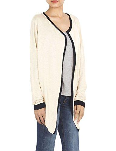 iB-iP Mujer Sólidos Ligeros Drapeados Novio Colores Cuello Redondo Cardigans De blanco