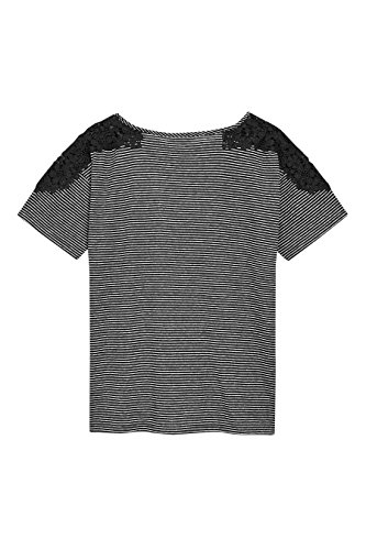 next Mujer Camiseta A Rayas Encaje Flores Corte Regular Top Ropa Monocromo