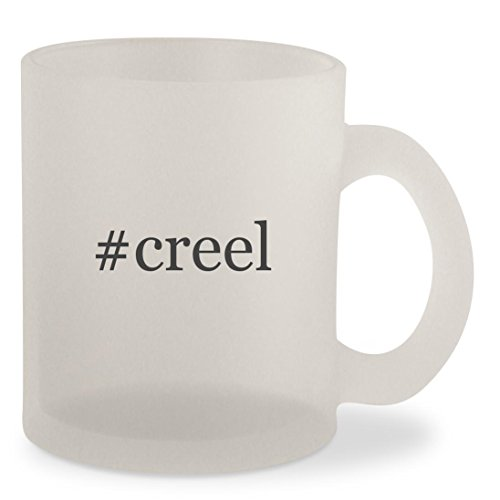 #creel - Hashtag Frosted 10oz Glass Coffee Cup Mug (Creel Fishing Wicker Antique)