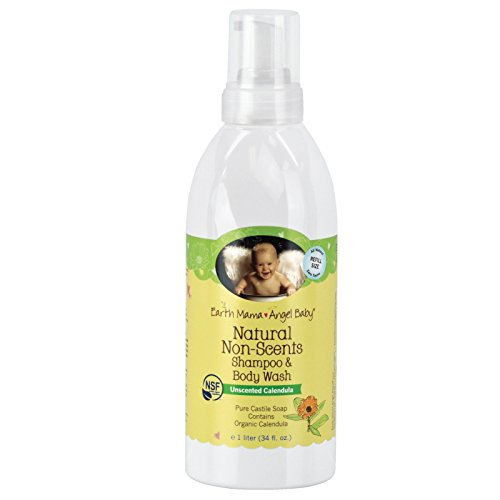 Earth Mama Angel Baby, Natural Non-Scents Shampoo & Body Wash, Unscented Calendula, 34 fl oz (1 L) - 2pc by Earth Mama Angel Baby
