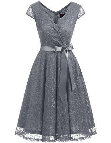 Women Lace Prom Dress Grey - 5