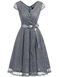 DresstellsShort V Neck Bridesmaid Ruched Dress Lace Cocktail Dresses with Belt