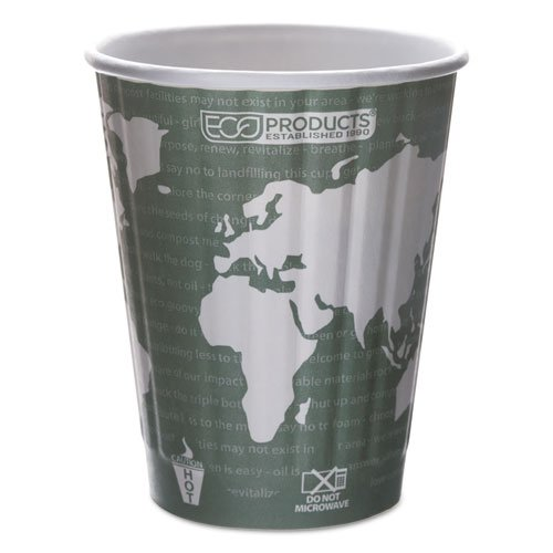 Eco-Products World Art Hot Cups, Paper, Gray/White, 12 oz - Includes 600 cups.