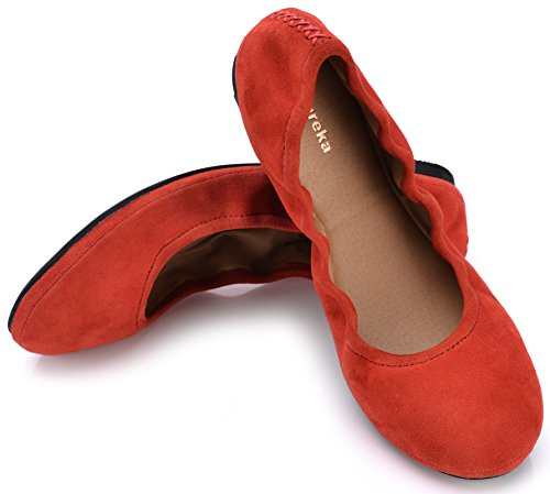 Eureka USA Women's Audrey Leather Ballet Flat - Red Flat Heart Charm