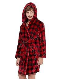 XmasPJS Kids Robe Boys Hooded Fleece Sleep Robe Cotton Towel Animal Soft Bathrobe 2-13 Year