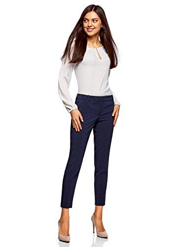 oodji Donna con 7900n Pieghe Pantaloni Collection Blu Basic r5g4rp