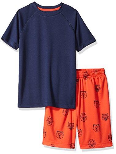 (Spotted Zebra Big Boys' Active Sleeve T-Shirt and Shorts Set, Mascot Print/Navy XX-Large (14))